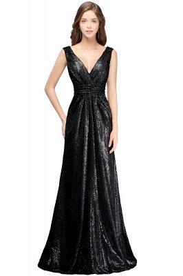 Cheap Elegant A-line Open Back Sequins Sleeveless V-neck Evening Dress in Stock_1