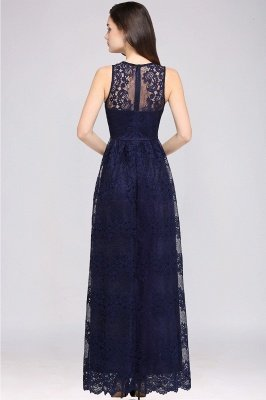CHAYA | Sheath V-neck Floor-length Navy Blue Lace Prom Dress_10