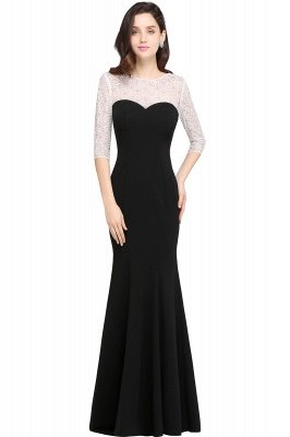Mermaid Floor Length Black Evening Dresses with Lace