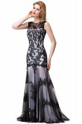 DANIELA | Scoop Neck lace Applique Mermaid Black Prom dresses_10