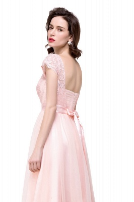 ELLIANA | Elegant Short Sleeves A-line Chiffon Bridesmaid Dresses with Ribbon Bow Sash_9