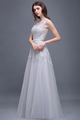 Cheap A-line Floor-length Tulle Prom Dress with Appliques in Stock_12