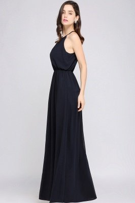 Dark Navy Halter Chiffon Sleeveless Bridesmaid Dresses | Cheap Wedding Guest Dresses_10
