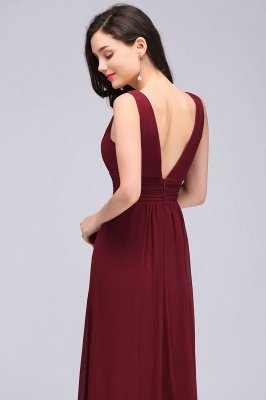 ALEXA   Sheath V Neck Burgundy Chiffon Long Evening Dresses_6