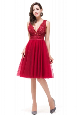 EVIE | A-Line Deep V-Neck Sleeveless Short Prom Dresses with Appliques