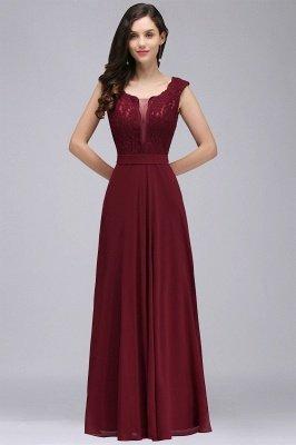 Elegant Lace A-line Long Burgundy Prom Dress_11