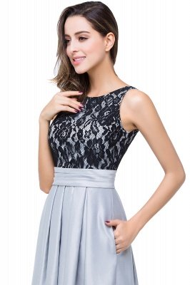 Cheap Simple A-line Crew Chiffon Open Back Lace Bridesmaid Dress in Stock_10