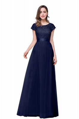 ELLIANA | Elegant Short Sleeves A-line Chiffon Bridesmaid Dresses with Ribbon Bow Sash_4
