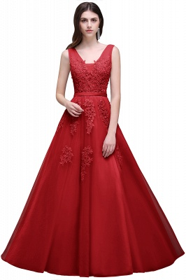 ADDYSON   A-line Floor-length Tulle Bridesmaid Dress with Appliques_5