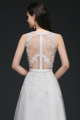 AMARI   A-Line Jewel Floor Length Tulle Wedding Dresses with Lace_6