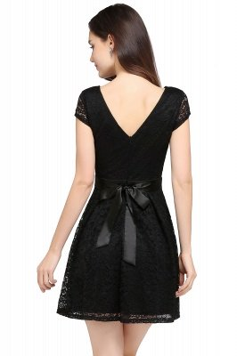 ARMANI | A-line Scoop Black Cheap Lace Homecoming Dress with Sash |_9