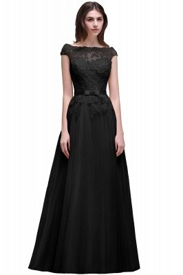 Champagne Evening  Prom Off-the-shoulder Floor-Length with-Belt Lace-Appliques Party Dress_7