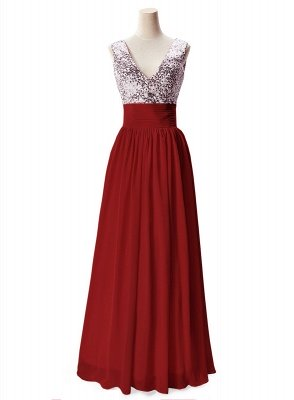 Cheap A-line V-neck Chiffon Party Dress With Sequined in Stock_2