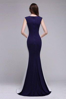 Mermaid Long Dark Navy Simple Prom Gowns_6