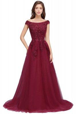 EMBER   A-line Off-shoulder Floor-length Tulle Appliques Prom Dresses_1