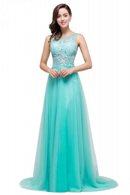 Cheap A-line Court Train Tulle Evening Dress with Appliques in Stock_13