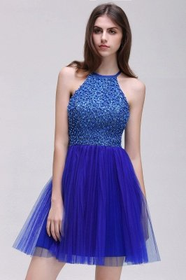 CAITLYN   A-line Halter Neck Short Tulle Royal Blue Homecoming Dresses with Beading_4