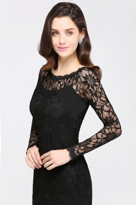 Lace Sheath Sexy Black Homecoming Dresses with Long Sleeves_13