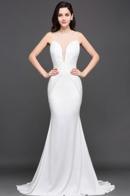 Mermaid Scoop Chiffon White Evening Dress With Beadings
