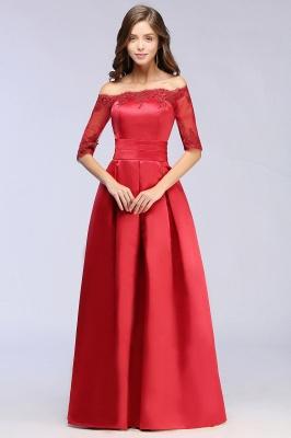 ELLISON | A-line Half Sleeve Floor-length Off-shoulder Appliques Prom Dresses_10