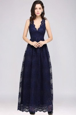 CHAYA | Sheath V-neck Floor-length Navy Blue Lace Prom Dress_9