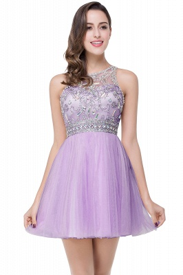 ELISA | A-line Crew Sleeveless Tulle Short Prom Dresses with Beadings_3