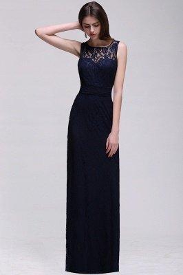 Simple Dark Navy Lace Bridesmaid Dresses Sleeveless Sheath Long Prom Dresses_2