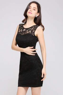 ARYA | Cheap Sheath Scoop Black Lace Homecoming Dresses | Sexy Short Prom Dresses_14