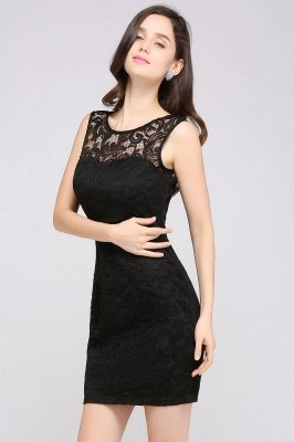 Cheap Cheap Sleeveless Bodycon Black Lace Short Sexy Cocktail Dress in Stock_13