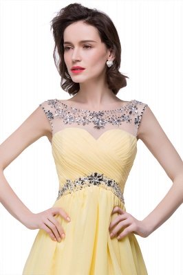 Cheap A-line Jewel Chiffon Party Dress With Crystal in Stock_3