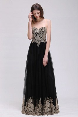 Black Tulle Long A-line Prom Dress with Appliques In Stock_7