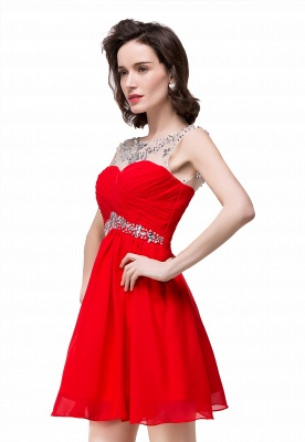 Cheap A-line Jewel Chiffon Party Dress With Crystal in Stock_2