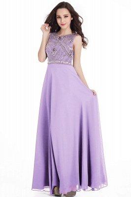 Sheath Jewel Crystals Floor Length Long Chiffon Cheap Prom Dresses_6