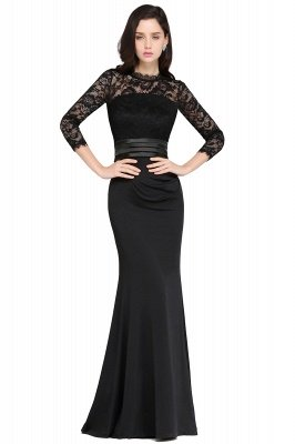ARIANNA | Sheath High Neck Black Elegant Evening Dresses with Lace