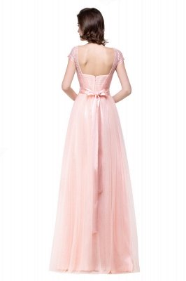ELLIANA | Elegant Short Sleeves A-line Chiffon Bridesmaid Dresses with Ribbon Bow Sash_7