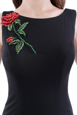 DALARY | Mermaid Jewel Court-Train Embroidery Black Prom Dresses with Pearls_9