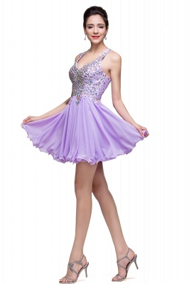 Cheap Chic Crisscross-straps Crystal Beads Ruffle Chiffon Sweetheart Short Prom Dress in Stock_12