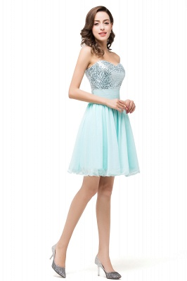 Ruffled Strapless Short Cute  Bridesmaid Sequined Prom Dress_3