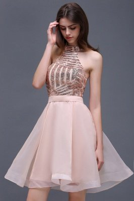 ALAYAH | A Line Halter Organza Short Homecoming Dresses With Sequins_7