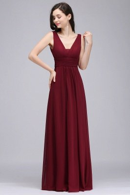ALEXA   Sheath V Neck Burgundy Chiffon Long Evening Dresses_1