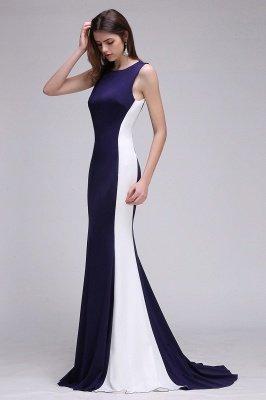 Mermaid Long Dark Navy Simple Prom Gowns_5