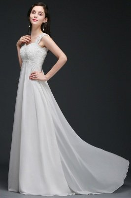 A-Line Sweep Trains Glamorous Wedding Dresses with Lace_6