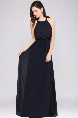 Dark Navy Halter Chiffon Sleeveless Bridesmaid Dresses | Cheap Wedding Guest Dresses_9