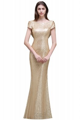 Cheap Women Sparkly Rose Gold Long Sequins Bridesmaid Dress in Stock_1