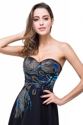 A-line Sweetheart Black Cheap Evening Dress with Embroidery_5