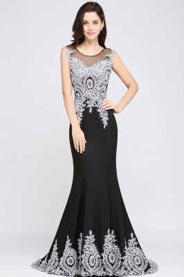 ARIYAH | Mermaid Scoop Black Pretty Evening Dresses with Appliques_6