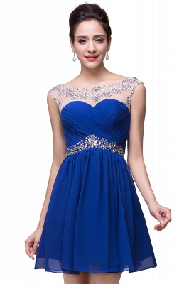 Cheap A-line Jewel Chiffon Party Dress With Crystal in Stock_4