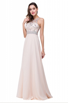 Cheap A-line Jewel Chiffon Prom Dress with Beading in Stock_14