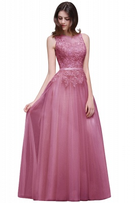 Lace-Appliques Prom Champagne Charming Sleeveless  Scoop-Neckline Party Dress_2