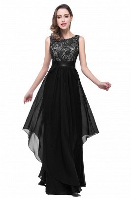 ADDISON | Affordable A-line Floor-length Chiffon Evening Dress with Lace_4